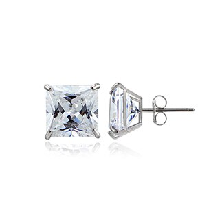 Icz Stonez 14k Gold 6mm 2.6ct Square Cubic Zirconia Stud Earrings