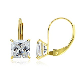 Icz Stonez 14k Gold 6mm 2.6ct Square Cubic Zirconia Leverback Earrings