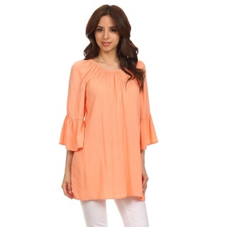 MOA Collection Women's Solid Color Loose Fit Bell Sleeve Top