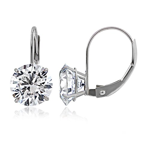 Icz Stonez 14k Gold 7mm 2.5ct Round Cubic Zirconia Leverback Earrings