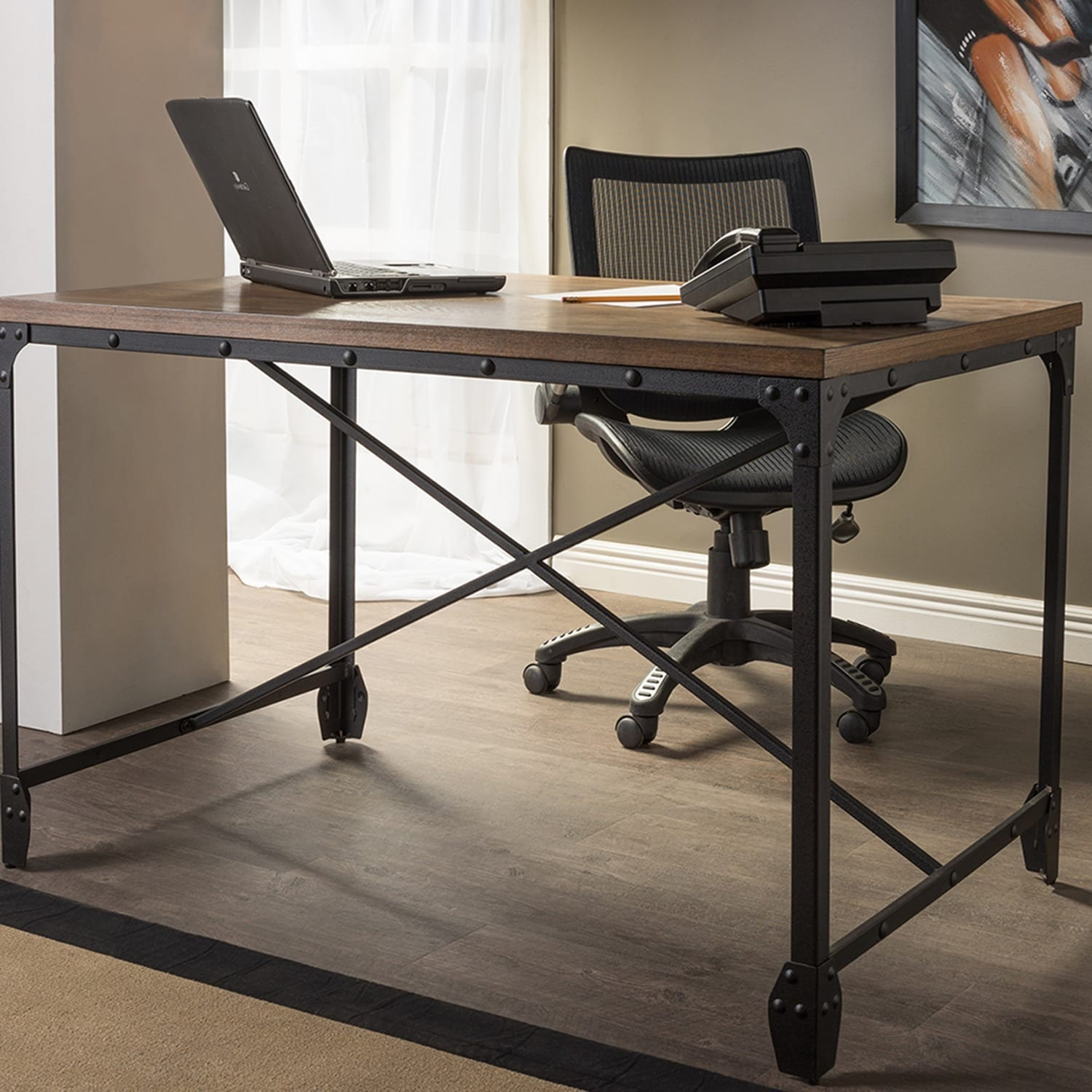 Carbon Loft Edelman Antique Bronze Wood/Metal Home Office Desk