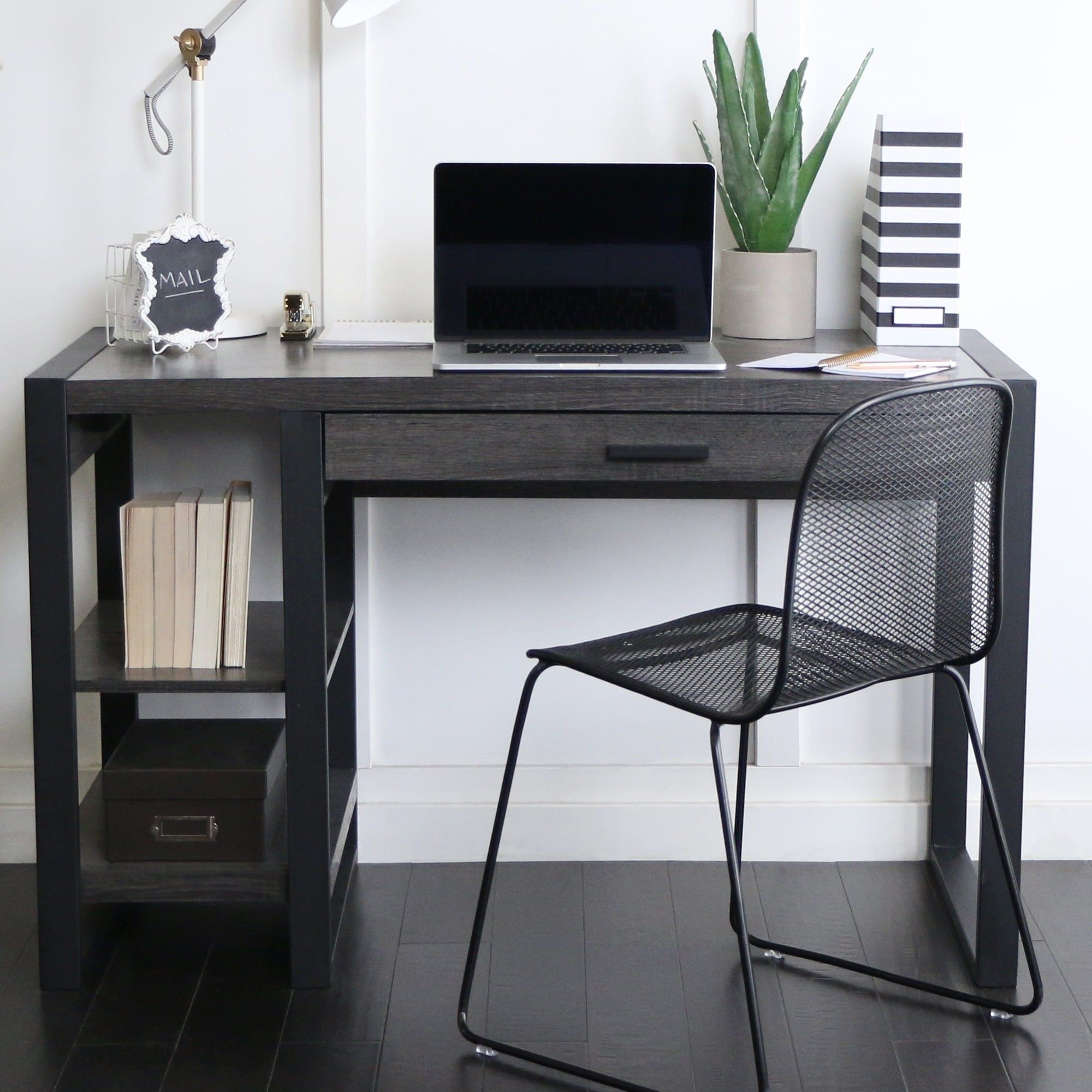 Oversized Wood And Metal Laptop Table: Shop 48-inch Charcoal Computer Desk