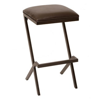 Armen Living Sasha 26-inch Transitional Barstool In Coffee with Leatherette Seat