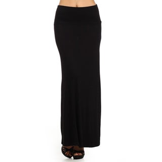MOA Collection Women's Black Maxi Skirt with Banded Waist