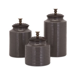 Beth Kushnick Grey Lidded Canisters (Set of 3)