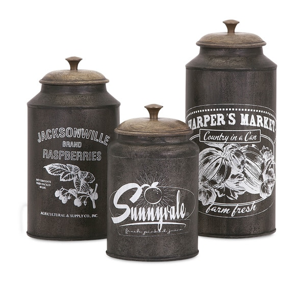 darby metal canisters (set of 3) - overstock - 10549440