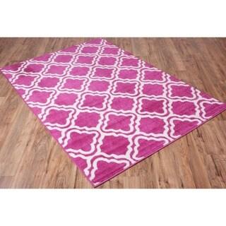 Star Bright Collection Well-woven Bright Modern Lattice Trellis Geometric Olefin Area Rug (7'10 x 10'6)