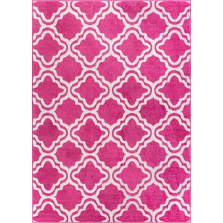 Star Bright Collection Well-woven Bright Modern Lattice Trellis Geometric Olefin Area Rug (7'10 x 10'6) (Option: Pink)