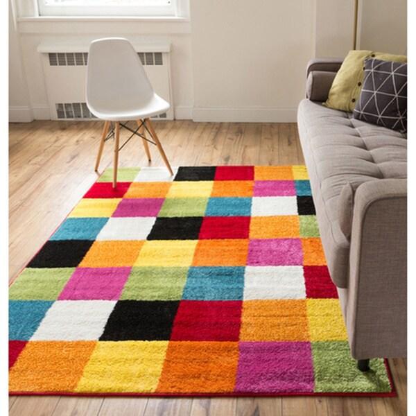 Star Bright Geometric Square Woven Multicolored Rug (7'10 x 10'6)