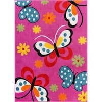 Well Woven Bright Kids Butterflies Pink, Blue, Green, Yellow, Orange Floral Playroom Family Room Area Rug - 5' x 7'