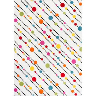 Well Woven Bright Dots and Stripes White Multi-color Abstract Pink, Red, Blue, Orange, Green, and Yellow Area Rug (5' x 7')