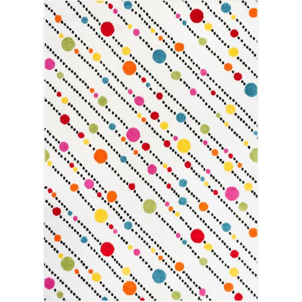 Shop Well Woven Bright Dots Stripes White Multi Color Abstract Pink
