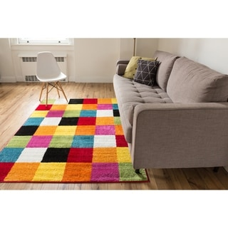Woven Bright Geometric Square Multi, Red, Orange, Yellow, Blue, Green, and Pink Color Block Modern Contemporary Rug (5' x 7')