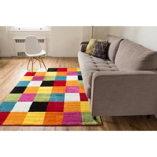 Well Woven Bright Geometric Square Multi Color Block Modern Kids Area Rug 5