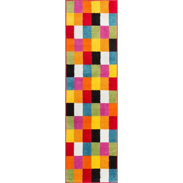 Woven Bright Geometric Square Checkered Multi Runner Rug