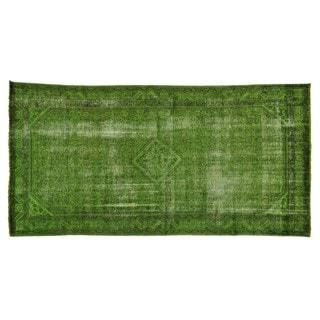 Gallery Size Worn Down Overdyed Persian Tabriz Handmade Rug (5' x 10')