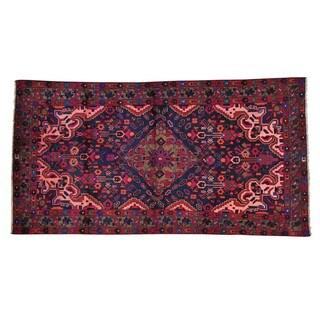 Handmade Full Pile Navy Blue Persian Nahavand Oriental Rug (4'5 x 8'5)