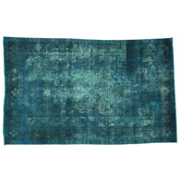 Shop Semi Antique Teal Overdyed Persian Tabriz Hand