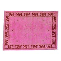 Pink Overdyed Ziegler Mahal Hand Knotted Oriental Rug - 5' x 6'9