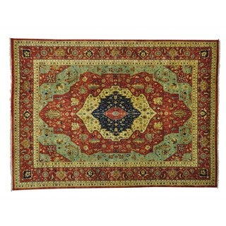 Antiqued Heriz Recreation Hand Knotted Oriental Rug (10' x 13'9)