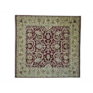 Burgundy Square Rajasthan Hand Knotted Oriental Rug (10' x 10'2)
