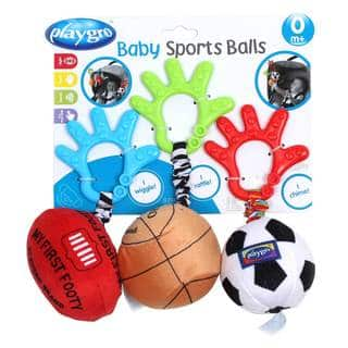 Playgro Wriggling Sports Balls (Pack of 3)