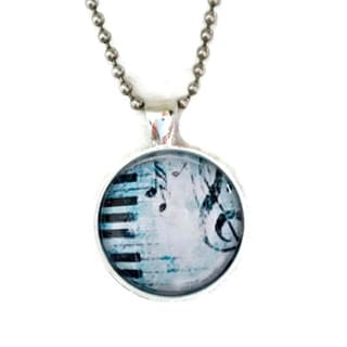 Atkinson Creations Piano Blues Glass Dome Pendant Necklace