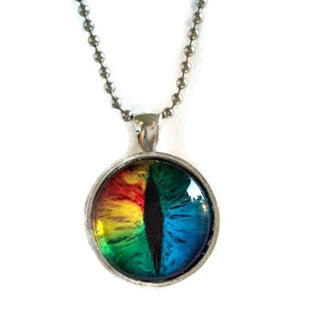 Atkinson Creations Rainbow Dragon's Eye Glass Dome Necklace