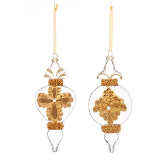 Baroque Pattern 2-style 7-inch Gold Ornament (Set of 6)