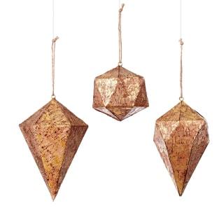 Cork Geometric (3 Styles) Assortment of 3 Tan Ornament