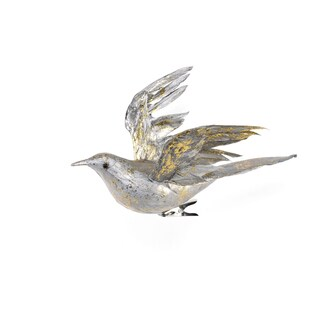 Feather Birds 8-inch Silver Ornament