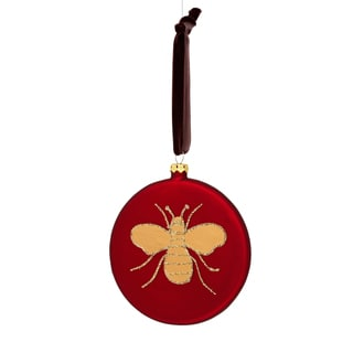 Glass Red/ Yellow/ Brown Disc with Glitter Bee 4-inch Ornament