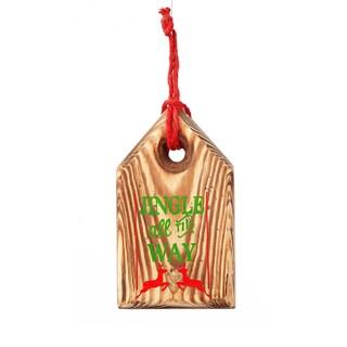 Wood Jingle Tag 6-inch Tan Ornament