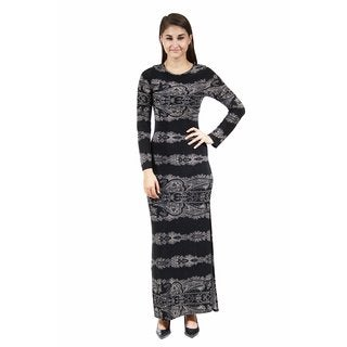 24/7 Comfort Apparel Women's Fall Paisley Printed Maxi Dress