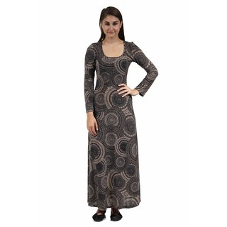 24/7 Comfort Apparel Women's Cream and Black Oriental Patterned Maxi