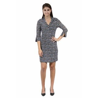 24/7 Comfort Apparel Women's Fall Mosaic Collared Henley Dress