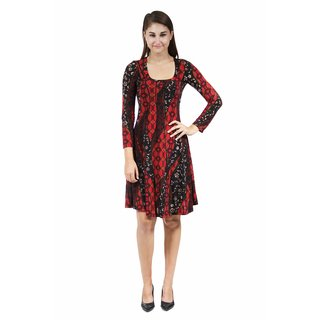 24/7 Comfort Apparel Women's Fall Leaves Printed Dress
