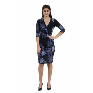 24/7 Comfort Apparel Women's Blue and Black Fall Floral Printed Dress