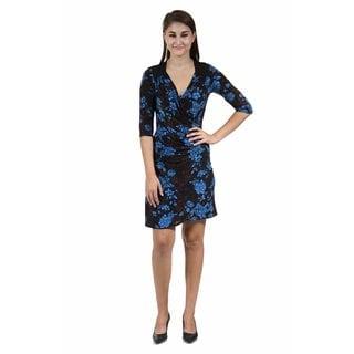 24/7 Comfort Apparel Women's Fall Floral Printed Wrap Dress