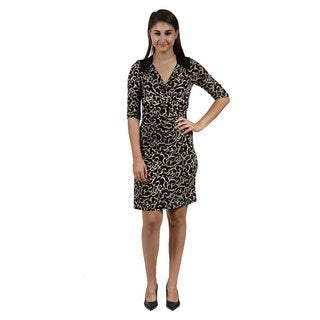24/7 Comfort Apparel Women's Cream and Black Swirled Print Wrap Dress