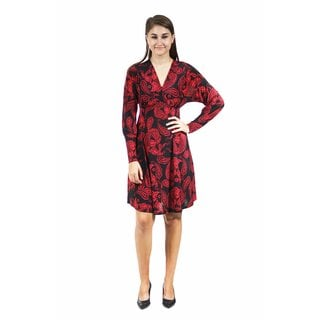 24/7 Comfort Apparel Women's Red Paisley Empire Dress