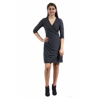 24/7 Comfort Apparel Women's Grey Polka Dot Print Faux Wrap Dress