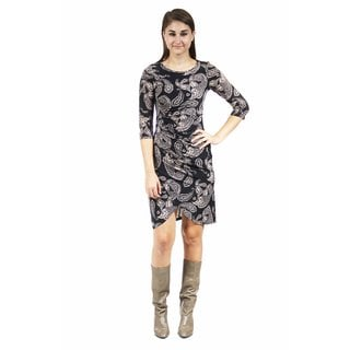24/7 Comfort Apparel Women's Cream and Paisley Printed Wrap Dress