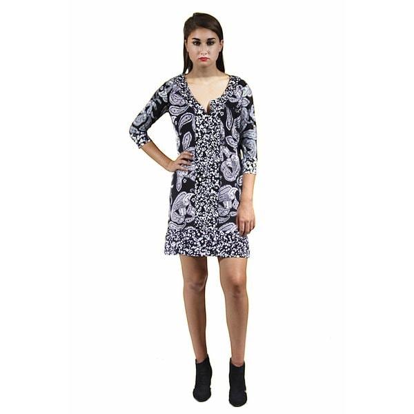 24/7 Comfort Apparel Women's Black and White Paisley Polka Dot Printed Shift Dress