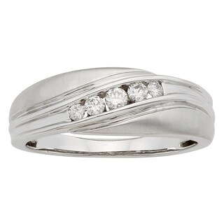Sofia 14k Gold 1/4ct TDW IGL Certified Round Diamond Gents Ring (More options available)
