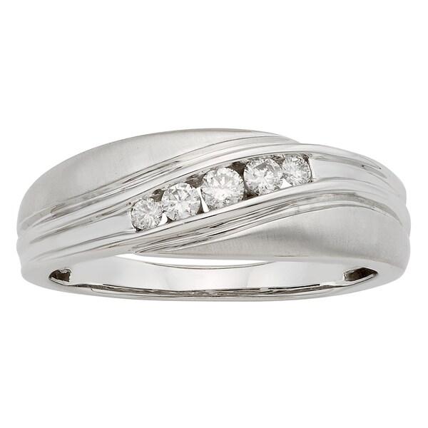 Sofia 14k Gold 1/4ct TDW IGL Certified Round Diamond Gents Ring