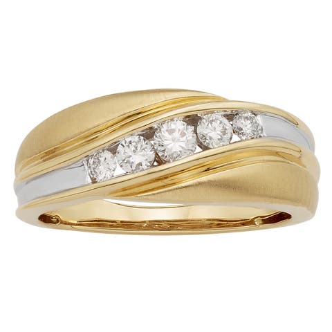 Sofia 14k Gold 1/2ct TDW IGL Certified Round Diamond Gents Ring