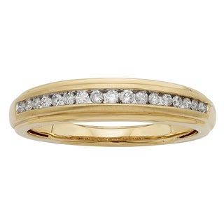 Sofia 14k Yellow Gold 1/4ct TDW Certified Round Diamond Gents Ring (H-I, I1-I2)