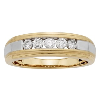 Sofia 14k Gold 1/2ct TDW Certified Round Diamond Gents Ring (H-I, I1-I2)