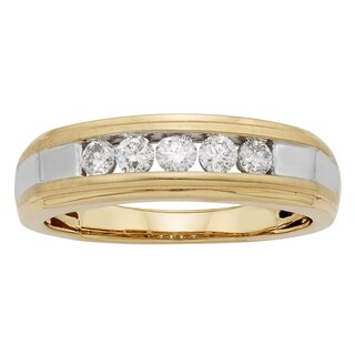 Sofia 14k Gold 1/2ct TDW IGL Certified Round Diamond Gents Ring